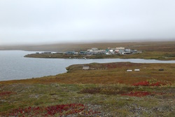 Colorful tundra with Toolik Field Station, Alaska in the distance. Photo by Nell Kemp.