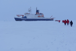 A line of USCGC Healy crew members and scientists trek over the sea ice to visit the RV Polarstern parked at the North Pole on 7 Sept. 2015. Photo by Bill Schmoker.