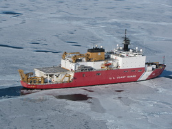 An aerial view of the USCGC Healy in the Chukchi Sea.