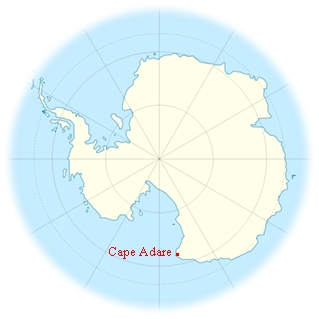 Map showing Cape Adare