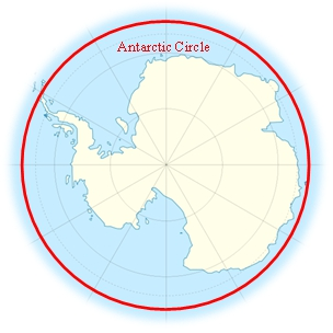 Map showing Antarctic circle.