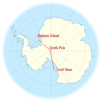 Approximate route of Ousland's expedition