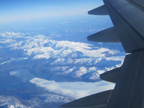 View of Patagonian glacier from the plane