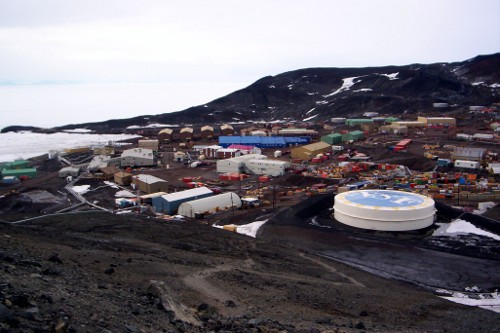 McMurdo Station as seen from halfway to the top of Observation Hill.
