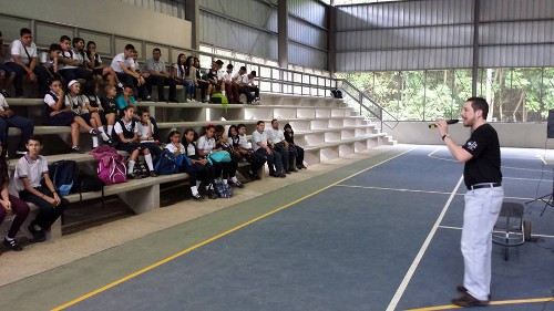 Teachers and students had assembled at the school's stadium.  Credit: Miguel Piñero.