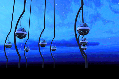 Artistic rendering of IceCube sensors (or DOMs) below the Antarctic ice.  Credit: Jamie Yang, The IceCube Collaboration.