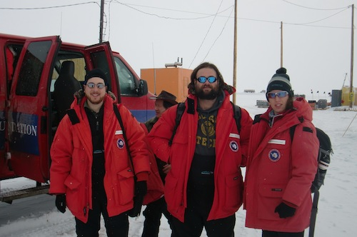 7:25 am: About to Leave McMurdo Station.  Armando, James and Hans.
