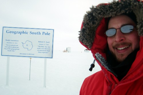 Selfie picture taken at the geographic South Pole.