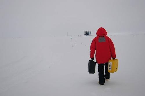 Me heading to the IceCube Laboratory (ICL) half a kilometer away.