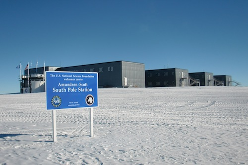 The Amundsen-Scott South Pole Station as viewed when coming from the airplane runway.