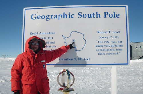 Pointing out to the South Pole.