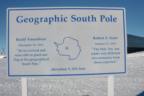 The sign at the geographic South Pole.