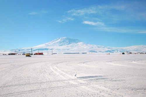 Mt. Erebus—the southernmost active volcano in the world—as seen from Williams Field.  Elevation: 3,794 m (12,448 feet).