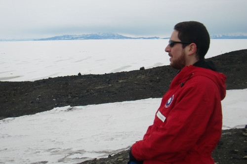 Me looking at New Zealand's Scott Base.  Black Island can be seen in the background.