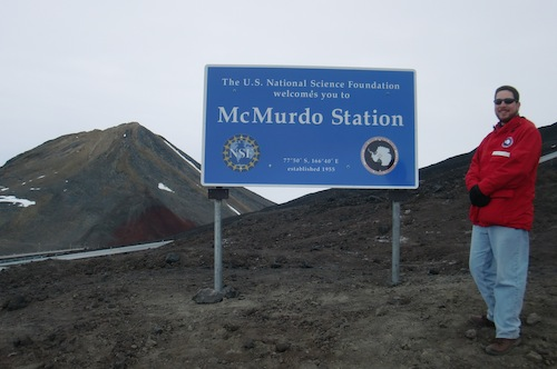 Me with the blue McMurdo sign (there is also a picture of me with the wooden sign in a previous post).