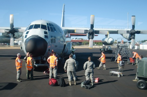 Arrival of the LC-130 at Christchurch International Airport.