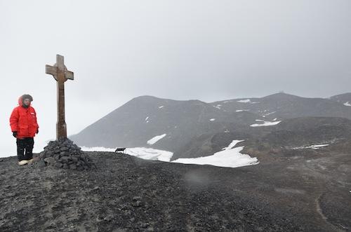 Me standing next to the George T. Vince memorial cross.  Credit: Hans Niederhausen.