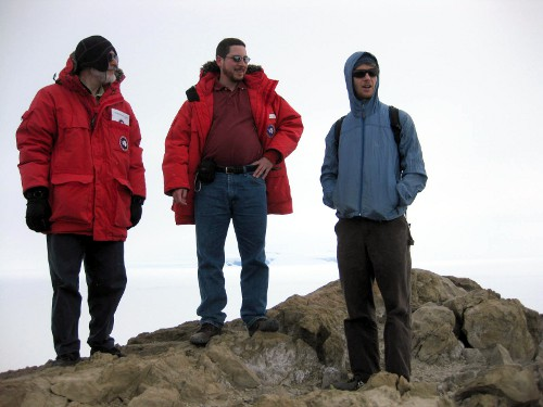 Enjoying the view at the top of Observation Hill.  Left to right: Keith, Me and Jamie.  Credit: Hans Niederhausen.
