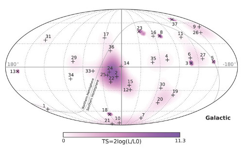 All-sky map indicating arrival directions of the 37 events found in IceCube after analyzing three years of data (2010–2013).  Credit: The IceCube Collaboration.