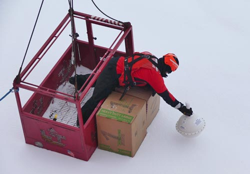 Putting float your boat boxes and SVP buoy on ice