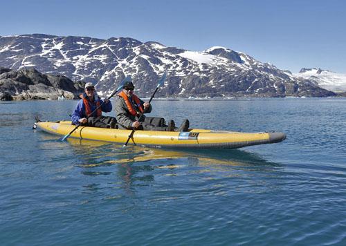 Joe Super and Bill Schmoker sea kayaking in Skoldungensund, Greenland