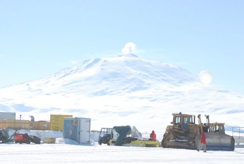 A view of Mount Erebus at the LDB facility.