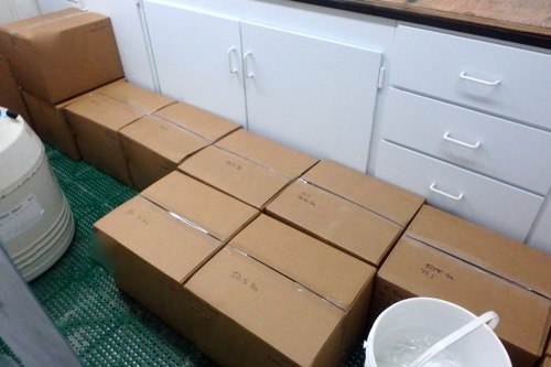 Packed water samples