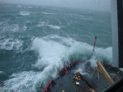 USCG Cutter Healy breaking through the Bering Sea waves
