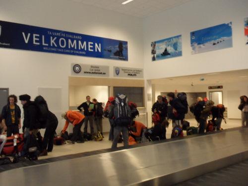 Hikers in Svalbard Airport