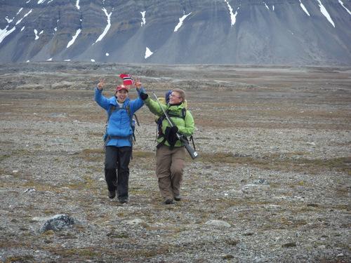 Berit with her Norwegian flag.