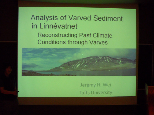 Jeremy presents thesis work on sediment cores.