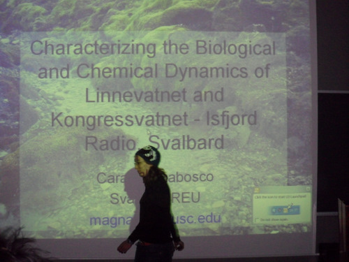 Cara presents her work on the biology of Lake Linne.