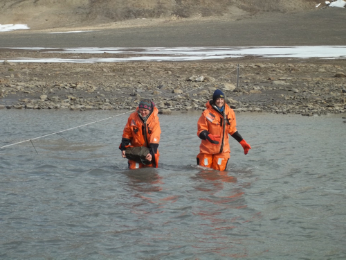 Elin and Mel Crossing the Stream