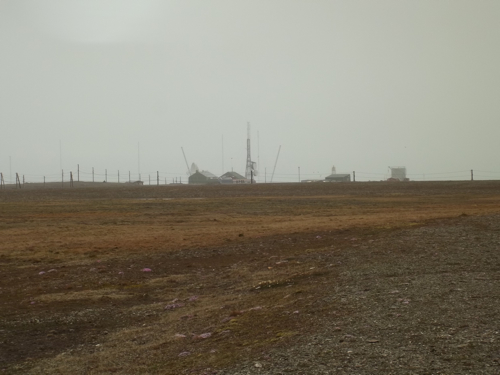 Foggy view of Isfjord Radio