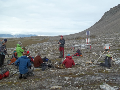 A complex permafrost monitoring site just below the cliffs.