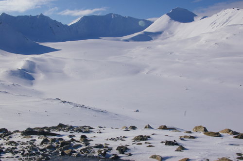 View of Linnebreen on April 19, 2012 from the glacier cam.