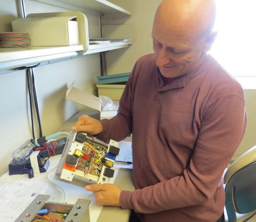 Bob Zook showing circuitry