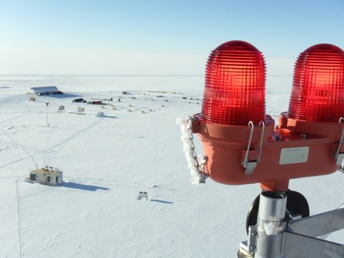 View from top of the 50-meter Swiss Tower with warning light