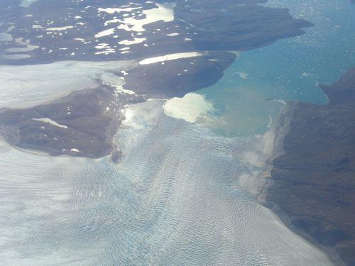 Large glacier entering fiord