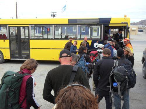 Loading bus to depart Kangerlussuaq