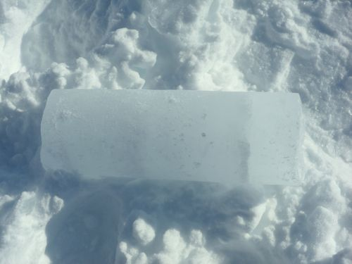 Piece of ice core from Petermann AWS site.