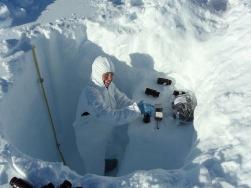Scientist collecting clean snow samples