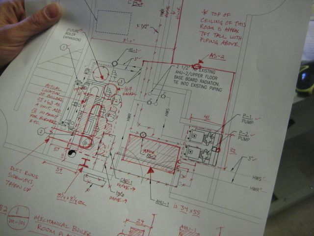 A drawing that Julie edited.  It's a room with lots of ducting and equipment.