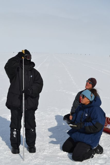 Sylvia, Avaruna, and Kris measure snow density