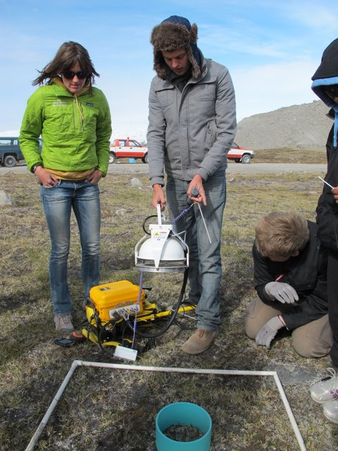 Vince uses the IRGA to measure carbon flux near the ice sheet