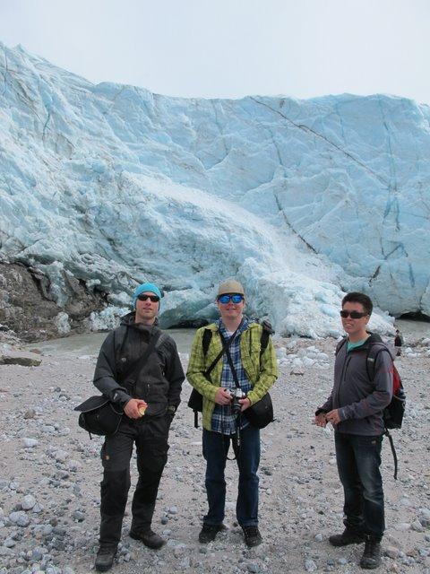 Jakob, Kurt, and Ole by glacier