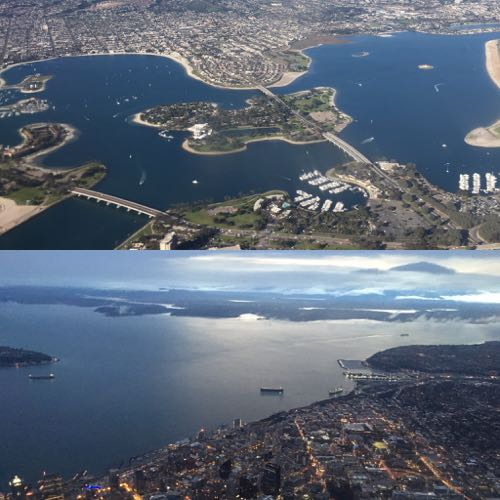 San Diego and Seattle from the sky