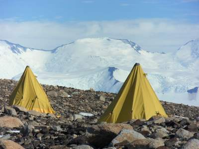 View of the mountains across the Beardmore Glacier from our camp on Mt. Kyffin.