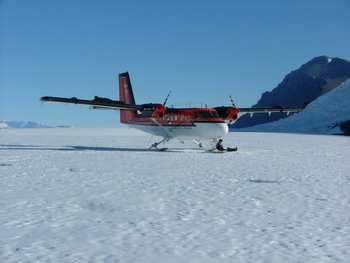 Twin Otter on Shackleton Glacier, Antarctica