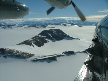 Transantarctic Mountains from LC-130 Hercules.